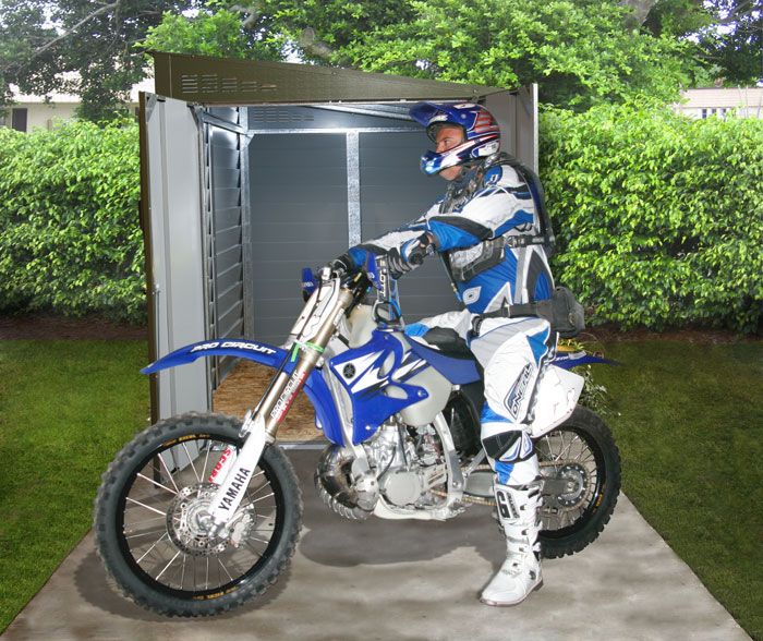 Garage moto abri moto abri pour moto rangement moto for Cabanon de rangement